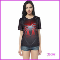 Fashion short sleeve red spider custom 3d t shirt pritning