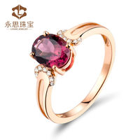 Diamond Natural Pink Tourmaline Ring Cheap Ring Oval 6x8mm In Solid 18k Rose Gold Gemstone Fine Wedding Jewelry LJ14J271