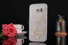 Magical butterfly design diamond PC phone case for Samsung Galaxy S6 Edge