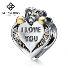 Wholesale 925 Silver Animal Charms/Beads Stamped I Love You Heart Bear