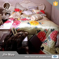 JINNUO LUXURY FASHIONABLE HIGH QUALITY WHOLE SALE PURE SILK HAND PAINTING SHEET SET