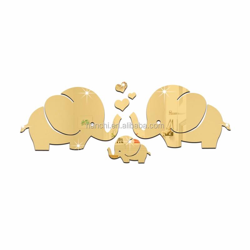 행복 조화로운 코끼리 가족 아크릴 거울 벽 스티커 새로운 커플 ...