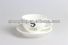 ceramic stacking plain white coffee cup and saucer