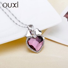 OUXI Fashion red heart and wing pendant Necklace for wedding jewelry ,heart with wings necklace