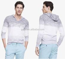 fashion long sleeves lightweight slub knit hooded pullover man sweater