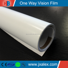 PVC Printable One Way Vision Paper Roll Wholesale For Advertising,Eco-solvent/140um,140g/1.27&1.52*50m/40% Perforation/Removable