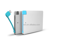2015 built in charge cable slim power banks Ultra-thin 6mm credit card size charge power
