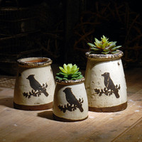 Vintage pot handmade white terracotta pot bird decal flower pots