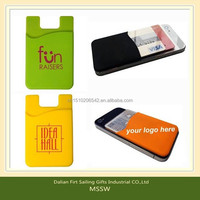 Removale pu gel credit card case holder customized silicon smart phone card wallet