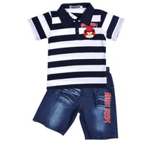 2015 Summer Children Clothing Baby Short-sleeved kid boys polo sets Striped T-shirts +Short Jeans children outdoor Wear