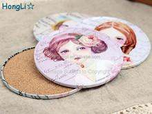Custom-Design Round Shape Tinplate Cup Mat. Tin Cork Coasters, Metal Placemat