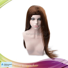Silky long straight natural human hair machine weft band fall wig