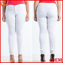 di grandi dimensioni solido bianco jean caldo donna jeans skinny con tasche