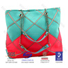 Square neoprene ladies handbag with chains in contrast color