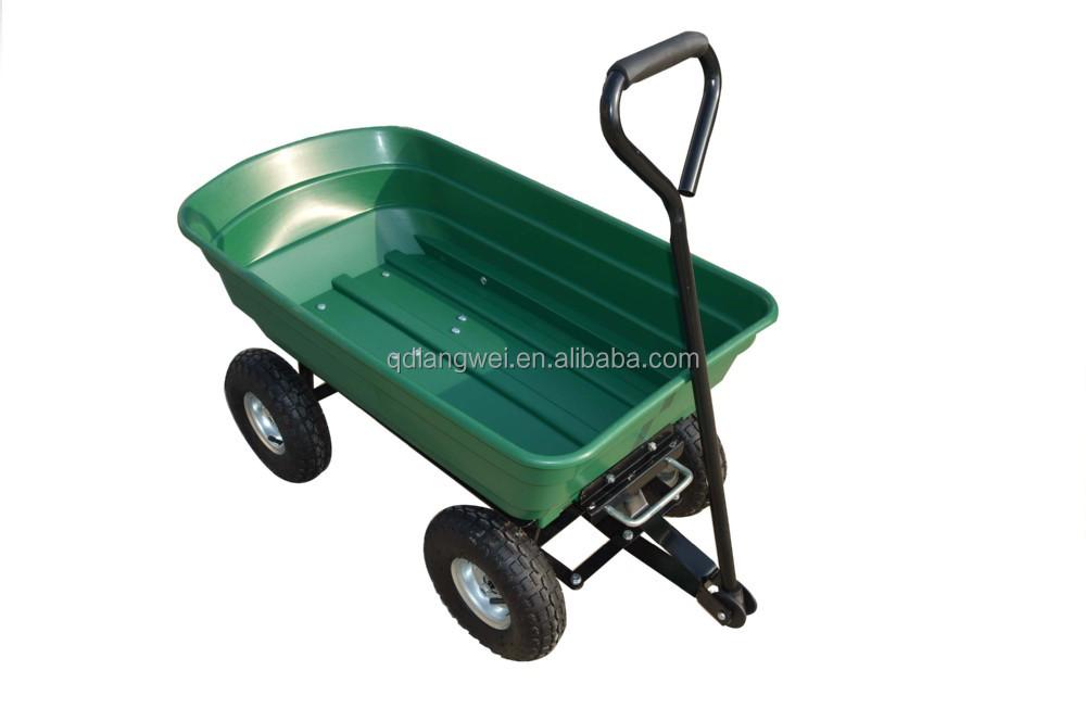 Heavy Duty Tractor Trailer : Heavy duty garden dump cart yard wagon lawn wheelbarrow