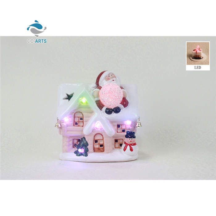 Wholesale handmade gift LED ceramic Santa Claus sculpture x'mas decoration