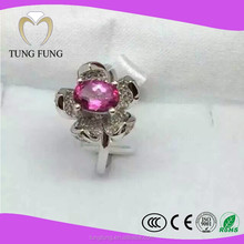 Wholesale High Fashion China Factory Pink Topaz 925 Sterling Silver Rings
