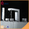 New polished deck mounted 5 holes brass square bathtub faucet