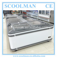 Commercial Curved Sliding Glass Door Chest Freezer Used for Supermarket