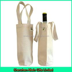 custom design single bottle cotton wine tote
