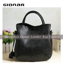 Elegant fashion lady tote bag geniune leather handbag
