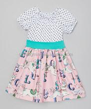 the newest design baby girls short sleeve dot polka horse pattern baby girl dress kids party wear dresses