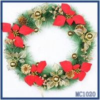 Low cost wholesale new christmas decorations 2015 top selling flower shaped wire garland free sample