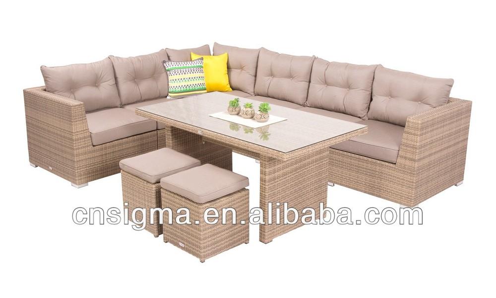 2014 mobiliario moderno jard n sof 9 pc mimbre mesa de for Mobiliario de jardin moderno