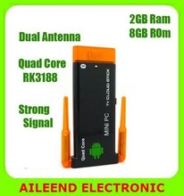 CX919ii Android 4.4.2 Quad Core 2G/8GB Bluetooth Dual External WiFi Antenna 1080P Android Mini PC TV Stick