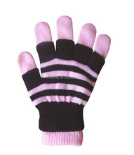 Winter Warm Pink and Black Cheap Knit Acrylic Magic Gloves