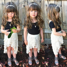 2015 summer kids black T -shirt with white short skirt 2-6T 5 size baby clothes set
