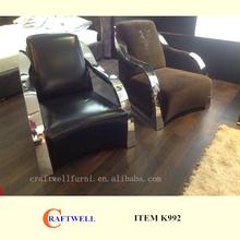 fashion modern style simplism metal arm studio sofa leather