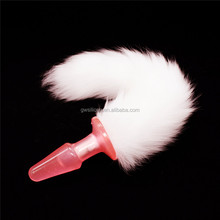 Pink Silicone Dog Tail Anal Plug, Popular Adult Love Fox Tail Butt Plug Sex Products For Men Women, Butt Plug with Tail Sex Toy