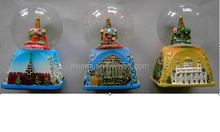 65mm polyresin/polystone/resin souvenir fashion snow globe water ball,snow ball,glass snow ball