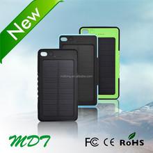 2014 Portable Waterproof rohs 12V 5V Solar Mobile Charger Car Battery Case Solar Power Bank 5000 mAh