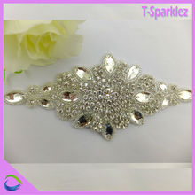guangzhou garment accessories rhinestones trimming crystal beaded applique
