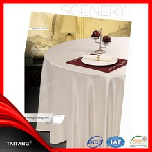 2015High Quality Best Sale Round Cheap Polyester Fancy white Hotel Wedding Table Cloth and Chair Cover