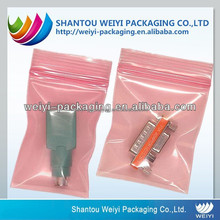 Electronic components pink LDPE ziplock antistatic bag with good ESD shielding