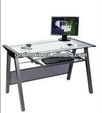 Metal table leg computer desk Glass desktop computer workstation (DX-8806)