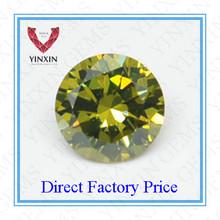 Round Brilliant cut Cubic Zirconia Peridot Green Synthetic Diamond Gemstone