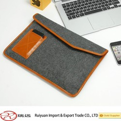 2015 new arrival !!!Beauty combination 13'' Felt laptop bag with leather pocket