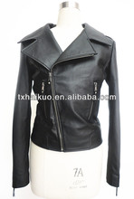 2013 new style slim genuine lamb leather jackets for women with big collar