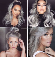 2015 New Products Best Sell 100% Human Hair Brazilian Grey Hair Ombre Front lace Wig