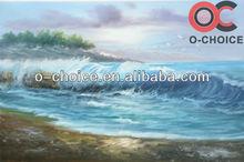Beautiful sea landscape ocean waves oil painting