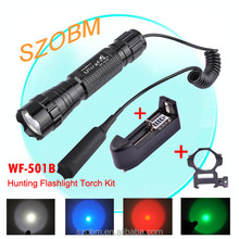 UltraFire WF-501B Green/Red/Blue LED Light Q5 Hunting LED Flashlight Tactical LED Flashlight