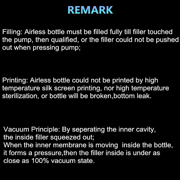 airless bottle use remark