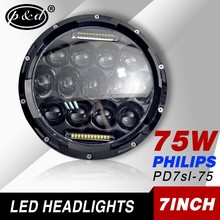 motorcycle auto parts 7 inch round 75w led projector headlights bulb