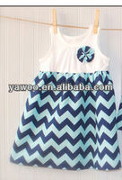 2013 New Arrival Wholesale High Quality Chevron Long Cotton Dress for Baby Girls Dress for Summer