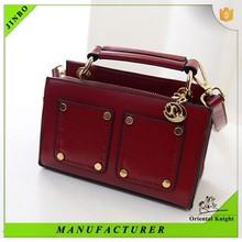 Customized logo PU leather women handbag made in China