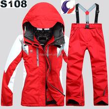 Para mujer de esquí exterior traje de colores a prueba de agua chaqueta de esquí de nieve y pantalones S108